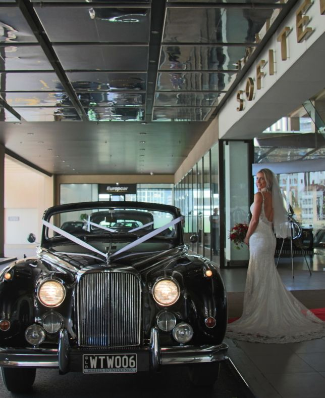 Mark IX jaguar convertible wedding car